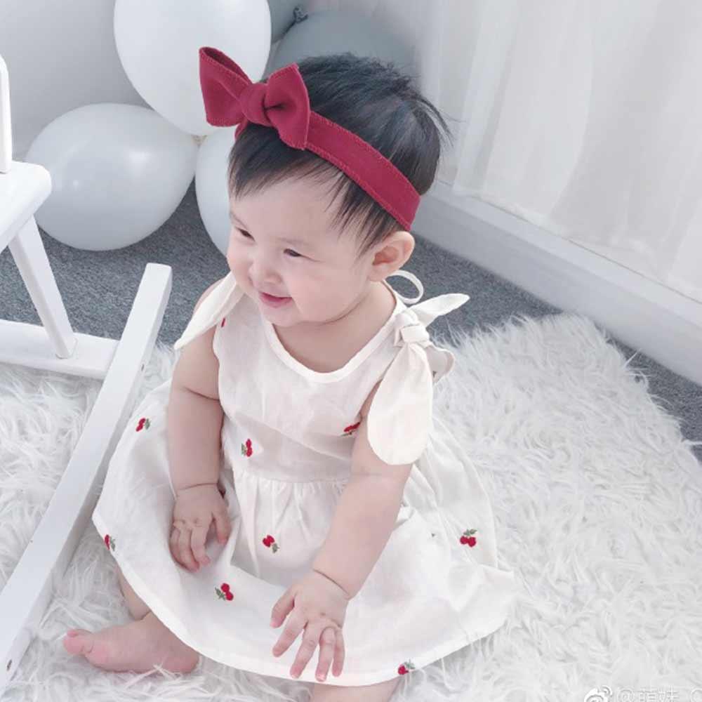 Baby unicorn 白色櫻桃綁帶無袖洋裝