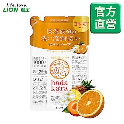 日本獅王LION 肌潤保濕沐浴乳補充包 橙果花園 360ml