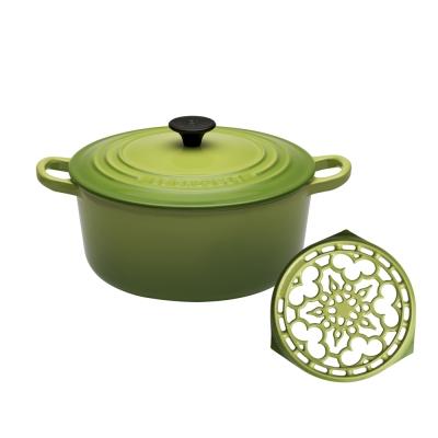 LE-CREUSET-琺瑯鑄鐵圓鍋22cm-棕櫚綠-琺瑯鑄鐵鍋架-棕櫚綠