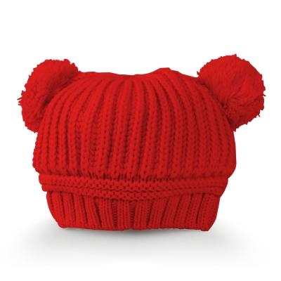 雪花針織雙球米奇造型保暖帽-三色
