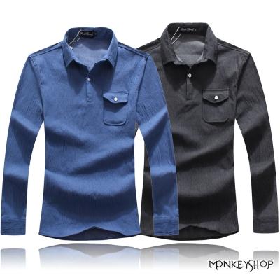 小猴子的賣場 韓版雅痞素面襯衫領長袖POLO衫-2色