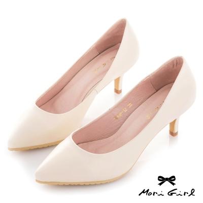Mori girl 修飾款真皮微尖頭中跟鞋 杏