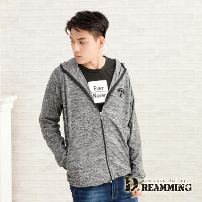 Dreamming 韓系混色彈力休閒連帽外套-灰色