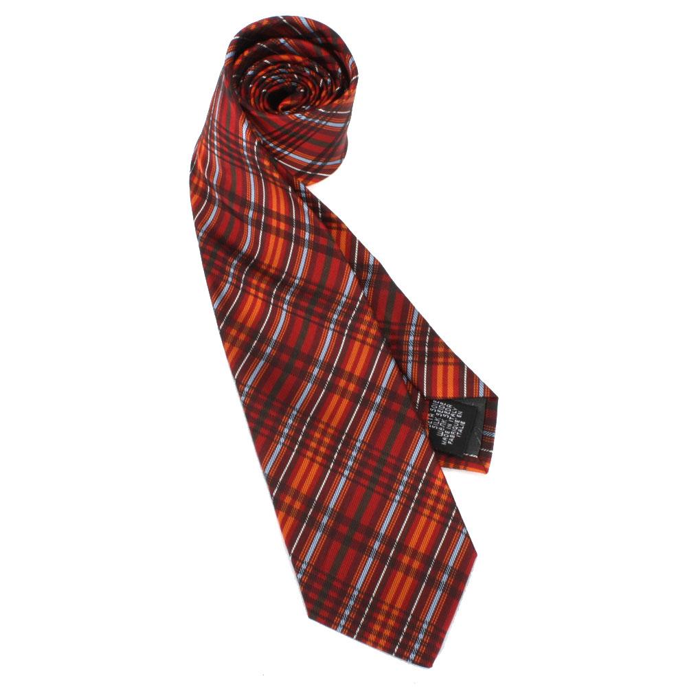 Vivienne Westwood 細線斜格紋絲質領帶-紅