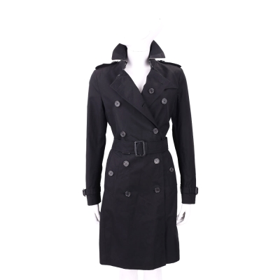 BURBERRY Kensington 黑色防風雨棉質長版風衣外套
