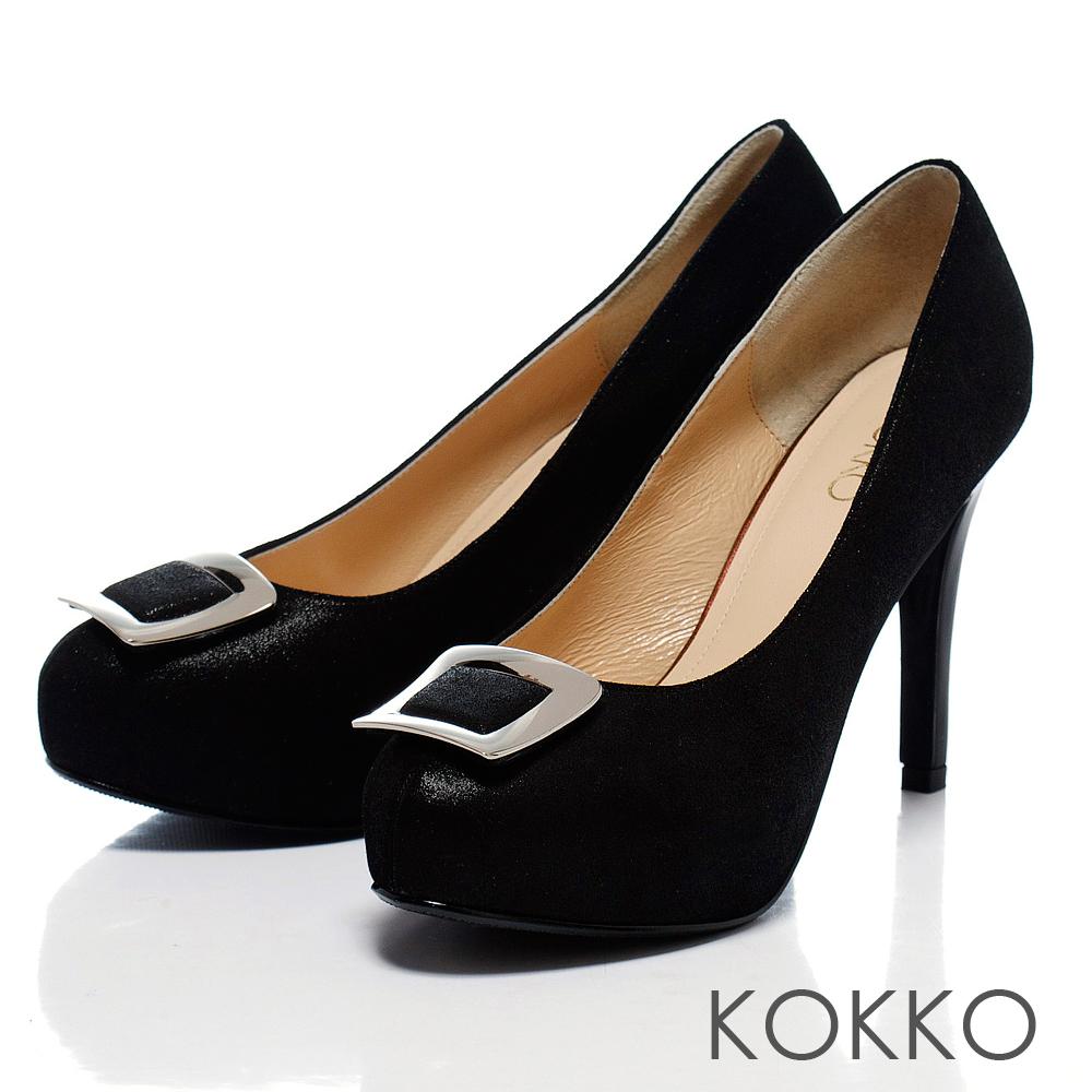 KOKKO經典花漾 ‧新潮亮眼方釦羊皮高跟鞋 - 無彩黑