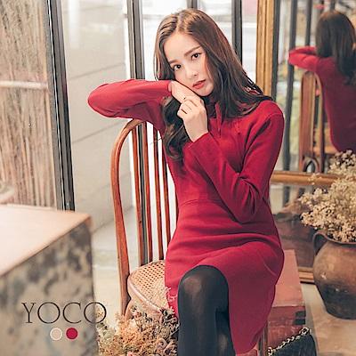 東京著衣-yoco 法式優雅純色領結長袖針織洋裝-S.M.L(共二色)