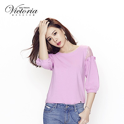 Victoria-袖蕾絲剪接拋袖七分袖T-女-紫粉