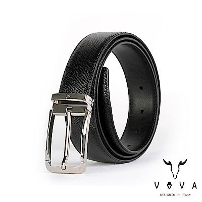 VOVA 紳士方頭穿針式蛇紋皮帶 - 銀色