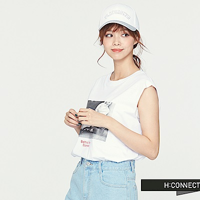 H:CONNECT 韓國品牌 女裝 -隨性風圖像印花背心-白