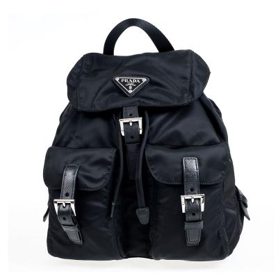 PRADA 經典三角鐵牌尼龍材質束口後背包 (黑色/小)