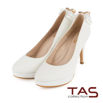 TAS-緞帶蝴蝶結水鑽珍珠墜飾高跟鞋-夢幻白