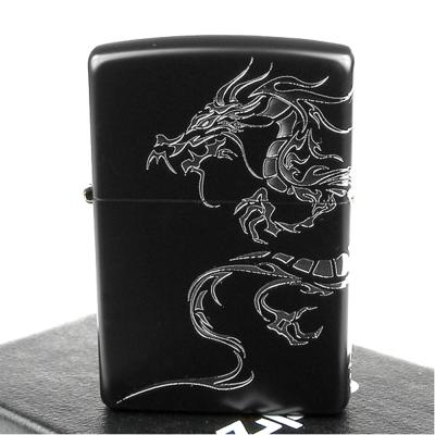 【ZIPPO】日系~Dragon-民族風龍圖騰-兩面連續加工打火機(黑銀款)