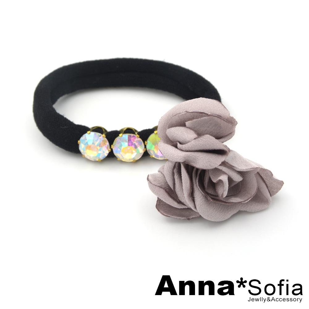AnnaSofia 美鑽三花苞 純手工彈性髮束髮圈髮繩(藕粉系)
