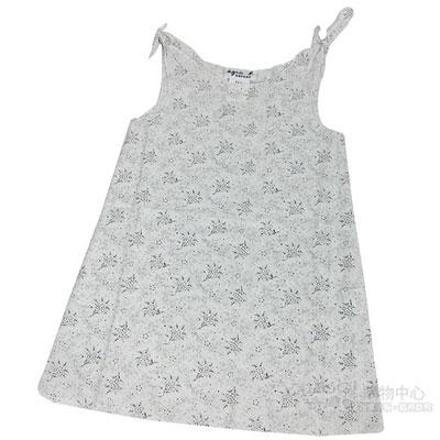 agnes b  麻質花紋小洋裝 (黑白)