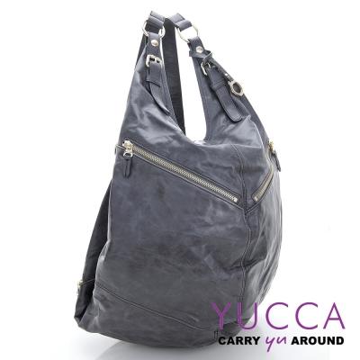 YUCCA - 牛皮多功能後/肩背包 -灰色-D0082029C66