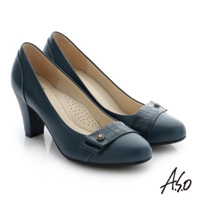 A.S.O 個性美型 真皮飾釦奈米窩心粗跟鞋 深藍色
