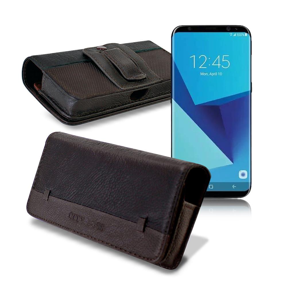 CB Samsung Galaxy J7 Pro / S8 品味柔紋橫式腰掛皮套