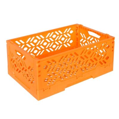 居家達人 創意摺疊式萬用收納盒/置物籃(亮橘)_2入
