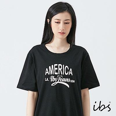 ibs美式文字T恤-黑-女