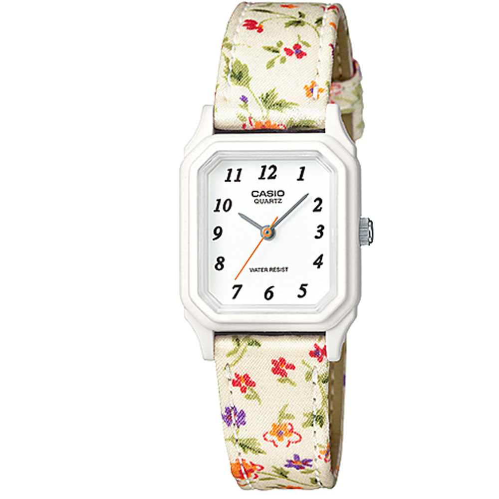 CASIO 復古花圖騰時尚風指針腕錶(LQ-142LB-7B)-白/22.5mm