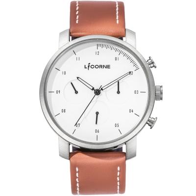 LICORNE MYO系列 精工品味三眼計時手錶-白x咖啡 /45mm