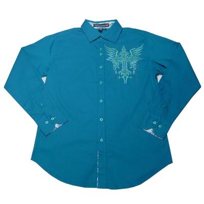 [摩達客]美國進口潮時尚設計【Victorious】翅膀十字圖騰刺繡藍綠色長袖襯衫