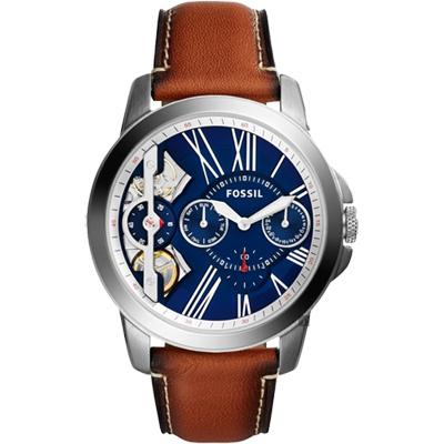 FOSSIL TWIST系列雙機芯日曆腕錶(ME1161)-藍x咖啡/44mm
