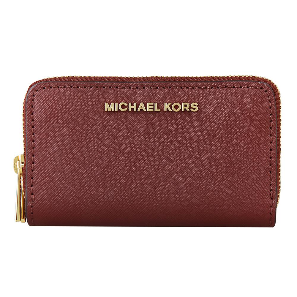 MICHAEL KORS JET SET TRAVEL金字防刮牛皮雙層拉鏈零錢包(磚紅)