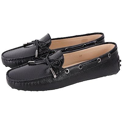TOD'S Gommino 壓紋牛皮綁帶豆豆休閒鞋(女鞋/黑色)