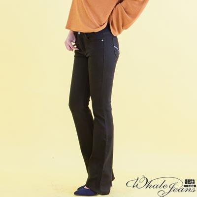 WHALE JEANS 簡約典雅沉穩顯瘦伸縮素色低腰牛仔喇叭褲