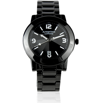 Arseprince 率性品味切割鏡面中性錶~黑 40mm