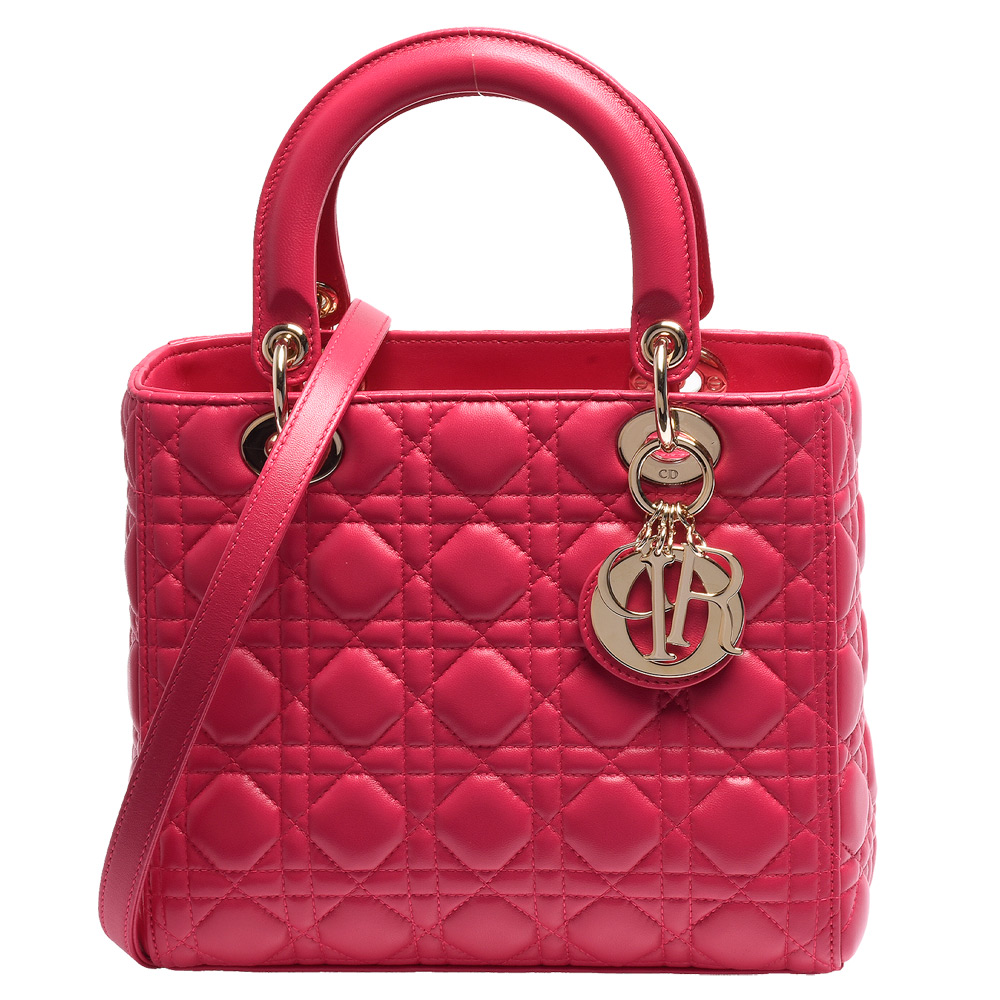 DIOR Lady Dior小羊皮手提肩背包中-桃紅X金