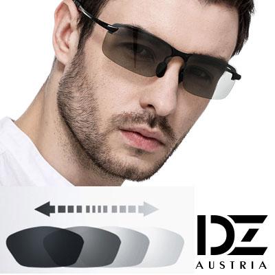 【2件59折】DZ 型潮格調變色片 抗UV 偏光 太陽眼鏡墨鏡(黑框)