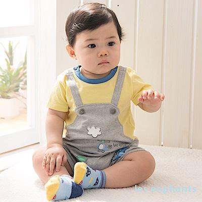 les enphants baby歡樂飛行假二件式吊帶連身裝 中黃