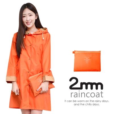 2mm 袖口拼色款。時尚雨衣/風衣(R-W065)_橙色