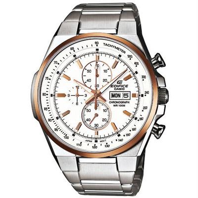CASIO EDIFICE 個性賽車風運動時尚腕錶(白面金框)-45mm