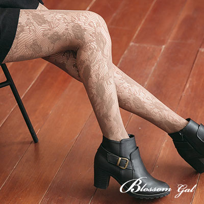 Blossom Gal 日韓風復古滿版雙層編織花漾網襪(共七色)