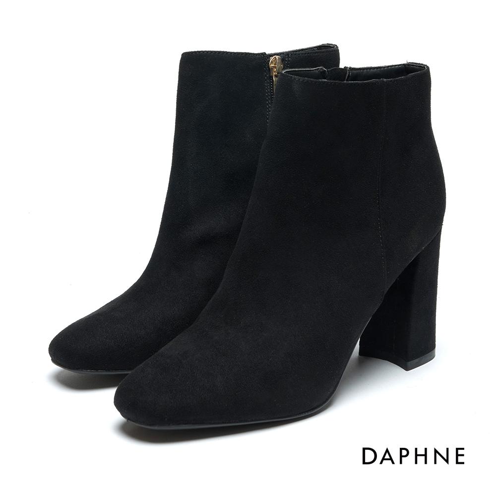 達芙妮DAPHNE 短靴-絨布珍珠鑲嵌粗跟短靴-黑