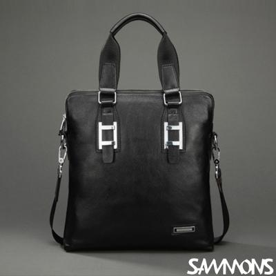 SAMMONS-真皮約翰雙拉鍊兩用包-光澤黑