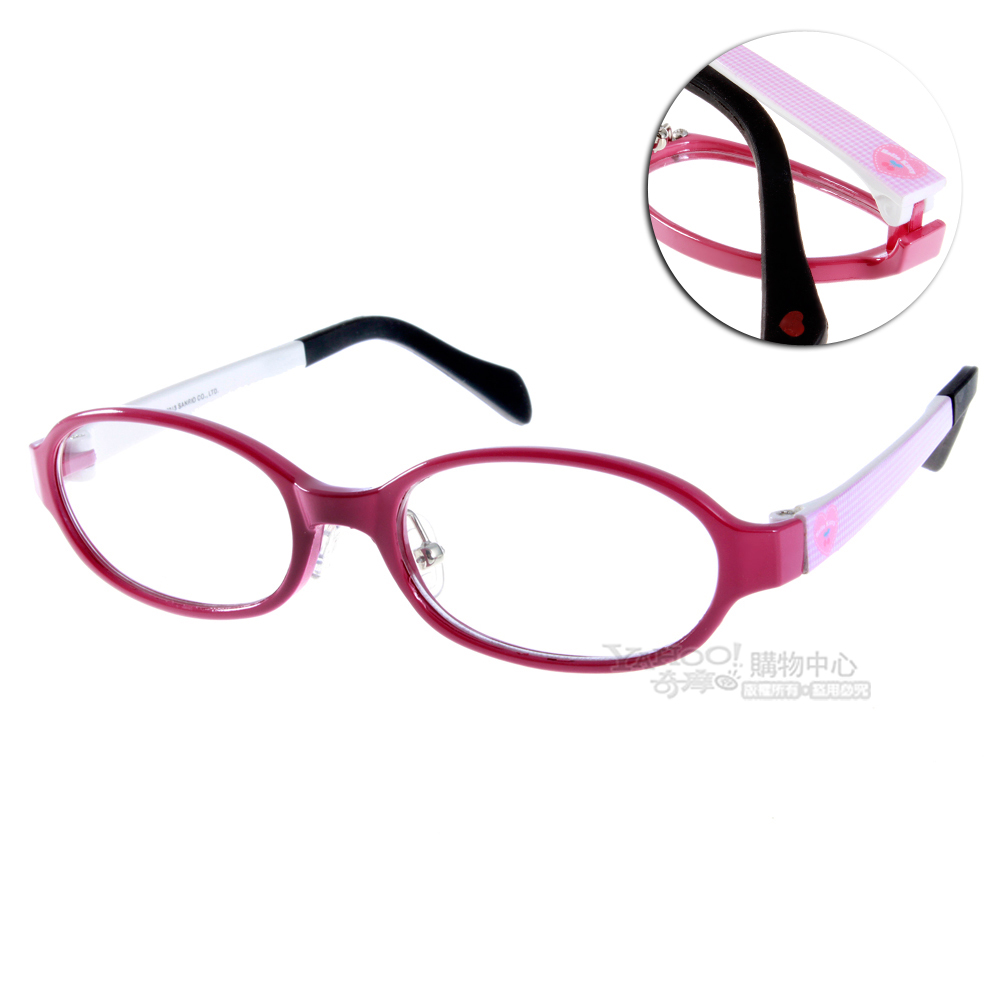 Hello Kitty兒童眼鏡 愛心小格紋/葡萄紅黑#HEGG004 C11