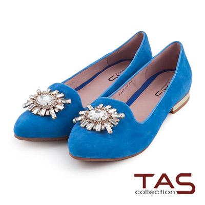 TAS-奢華造型水鑽麂皮樂福鞋-夏日藍