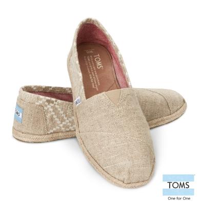 TOMS-經典麻布刺繡-女款-米白