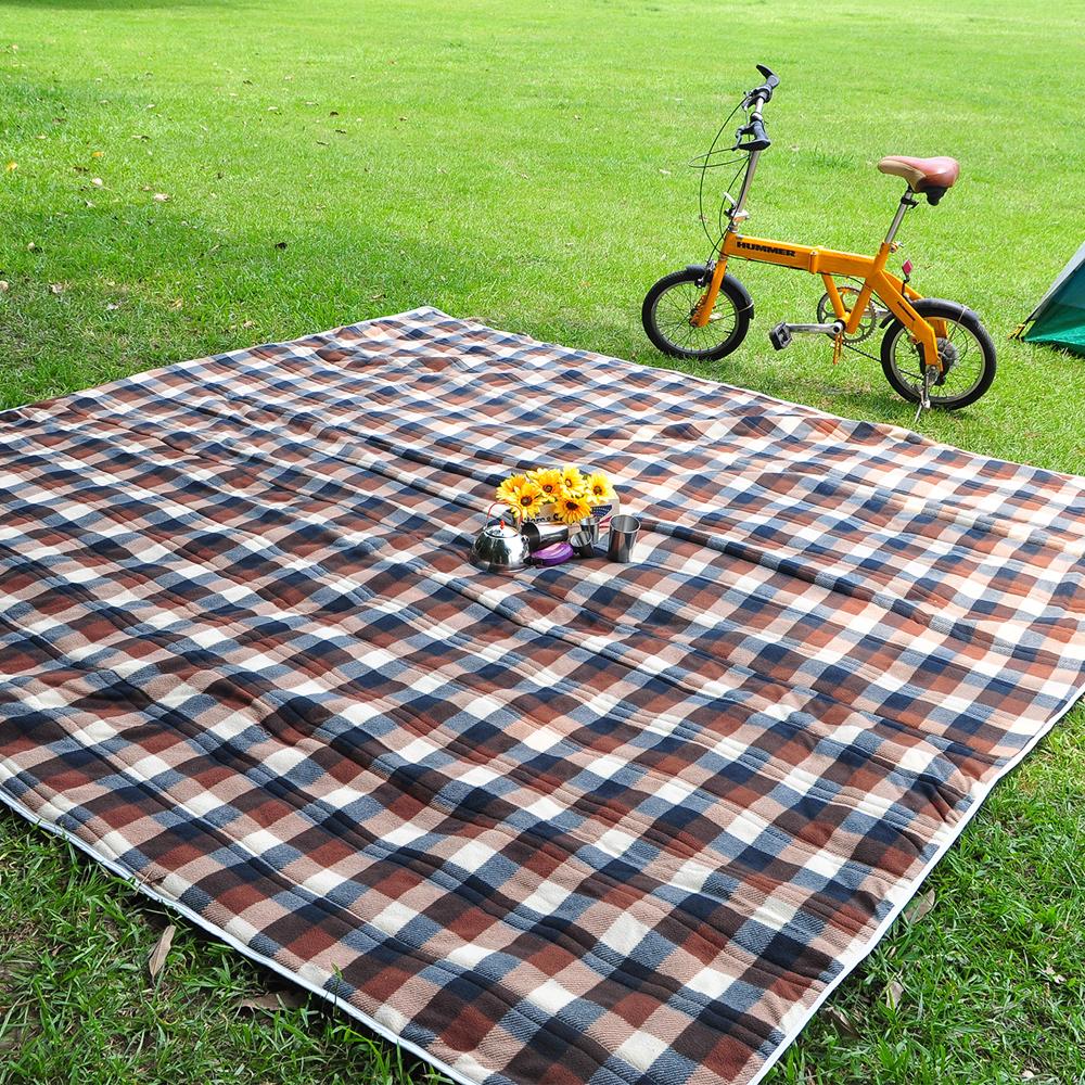 迪伯特DIBOTE防水加厚刷毛野餐露營墊防水地墊布200 x 200cm-格子