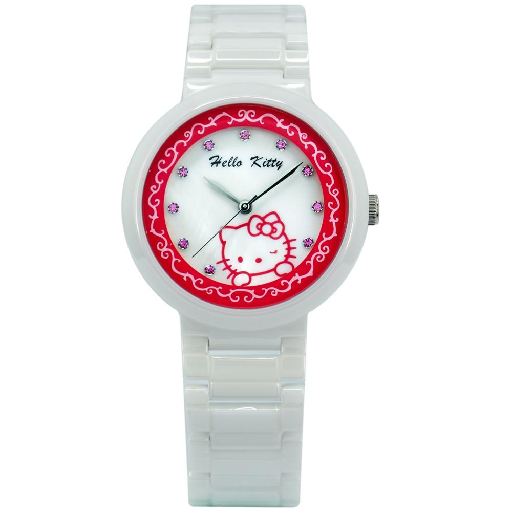 HELLO KITTY 凱蒂貓優雅花朵時尚手錶-白紅x粉鑽/33mm