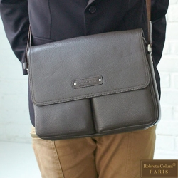 Roberta Colum - 時尚鉚釘軟牛皮多口袋功能側肩背包(小)-共2色