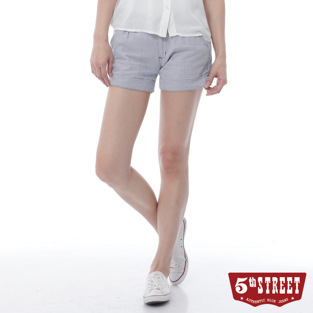 5th STREET 條紋打褶休閒短褲-女-丈青