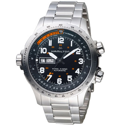 Hamilton 漢米爾頓 Khaki X-Wind御風者自動腕錶-45mm/銀色