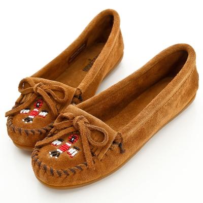 MINNETONKA 深棕色麂皮串珠小雷鳥莫卡辛 女鞋