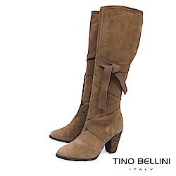 Tino Bellini 巴西進口綁帶交錯高跟長靴_ 駝